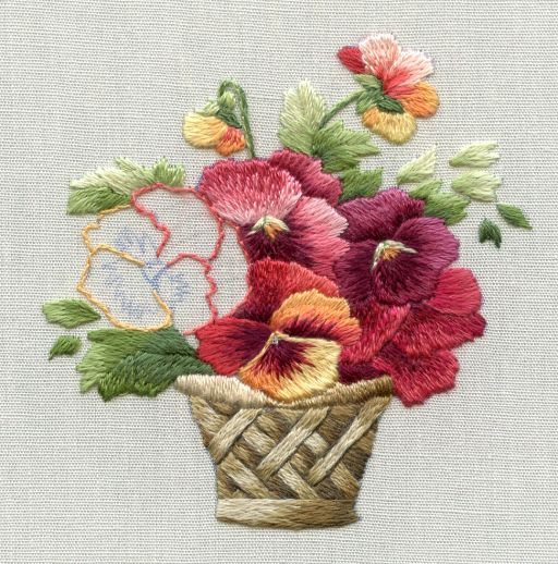 hand embroidered flower basket