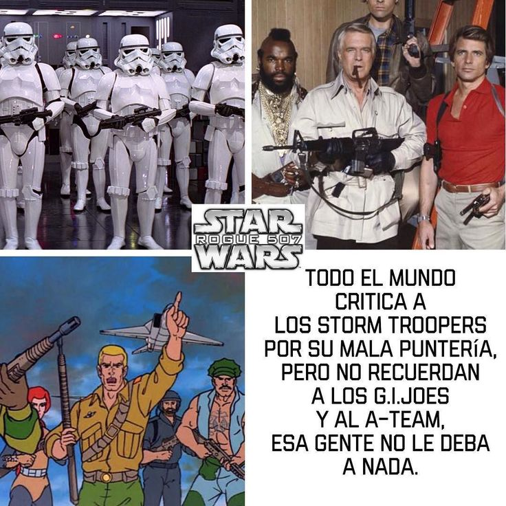 Todo el Mundo critica a los Storm Troopers Por su mala puntería pero no recuerdan a los G.I.Joes y al A-Team esa gente no le deba  a nada.  #darthvader #theforceawakens #stormtrooper #disney #jedi #sith #love #lego #starwarsfan #yoda #art #r2d2 #marvel #hansolo #bobafett #lukeskywalker #geek #forcefriday #cosplay #darkside #chewbacca #nerd #lightsaber #toys #theforce #instagood #kyloren #fashion #batman #c3po