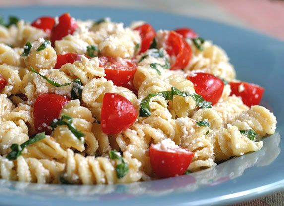Fusilli pasta with fresh basil, cherry tomatoes, garlic, ricotta and Parmesan cheeses. Delicious served as a main or side dish, or cold as a pasta salad.