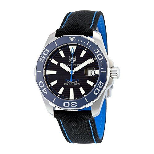 #sportwatches TAG Heuer Men's 'Aquaracr' Swiss Automatic Stainless Steel and Canvas Sport Watch, Color:Black (Model: WAY211B.FC6363) Check https://www.carrywatches.com
