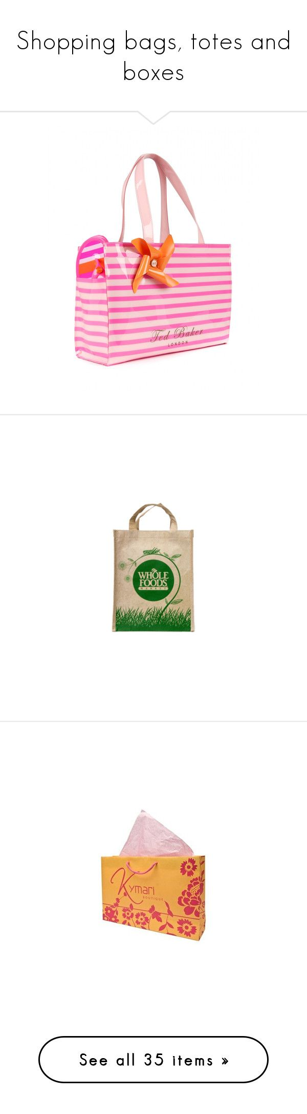 """""""Shopping bags, totes and boxes"""" by alleypea ❤ liked on Polyvore featuring nude, bags, handbags, tote bags, bright pink, ted baker shopper, striped tote bag, pink purse, shopping bag and ted baker tote bag"""
