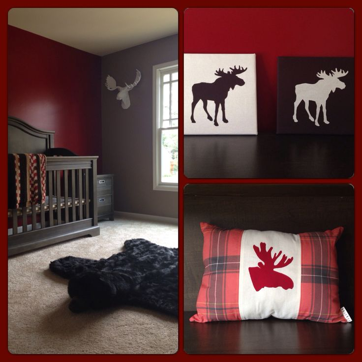 (I love the simplicity in color and design and no lack of masculinity for the little boy!) Log cabin moose nursery - Pillow and nursery art from @Destiny Desselle Boutique - www.bugarooboutique.com