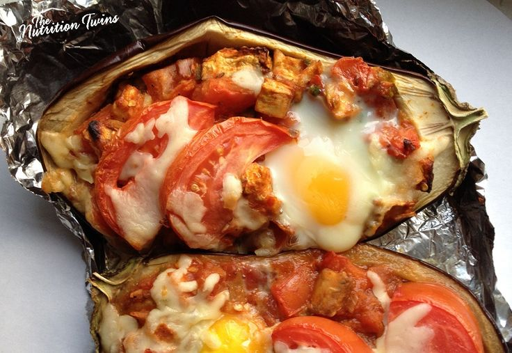 Sunny Side Up Stuffed Eggplant | Delish on the Grill | 12 g Protein & 9!! Grams Fiber |Skinny #Vegetarian Meal |  For MORE RECIPES please SIGN UP for our FREE NEWSLETTER www.NutritionTwins.com | #client #EBeggs