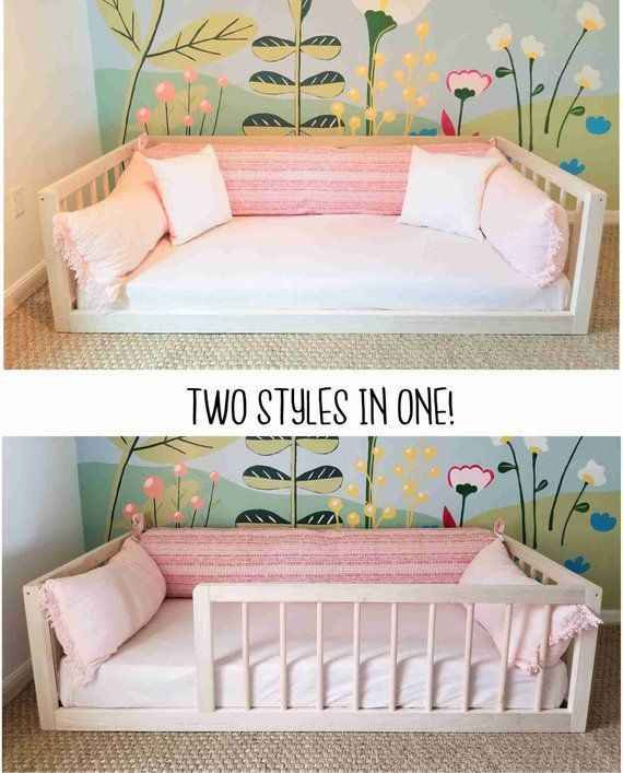 25 + › Montessori Floor Bed With Rails Full oder Double Size Floor Bett Hartholz ENTHÄLT SCHLITTEN