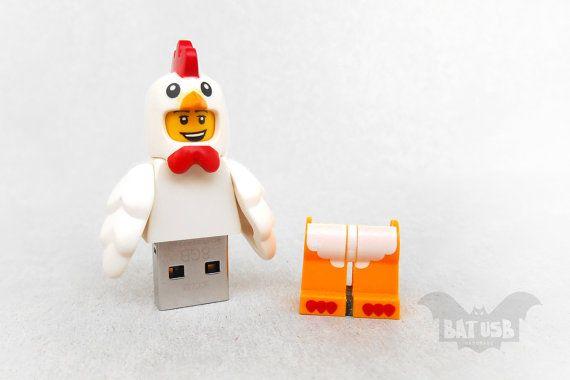 BAT™ 8/16/32/64GB USB flash drive - Memory Stick - Lego® original Minifigure - Chicken costume - Lego usb with legs cap - Collectible by Think4HandmadeArt, €48.00