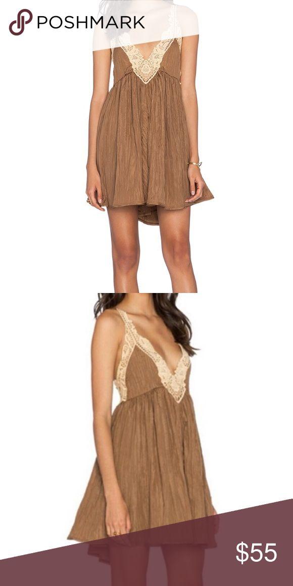 Free people crescent slip martini dress Free People brown and tan lace dress Free People Dresses