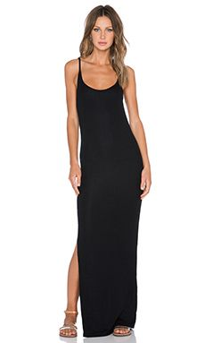 ATM Anthony Thomas Melillo Rib Racer Back Maxi Dress in Black Solid