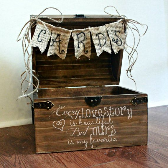 SALE Shabby Chic Rustic Wooden Card Box Wedding Card Box