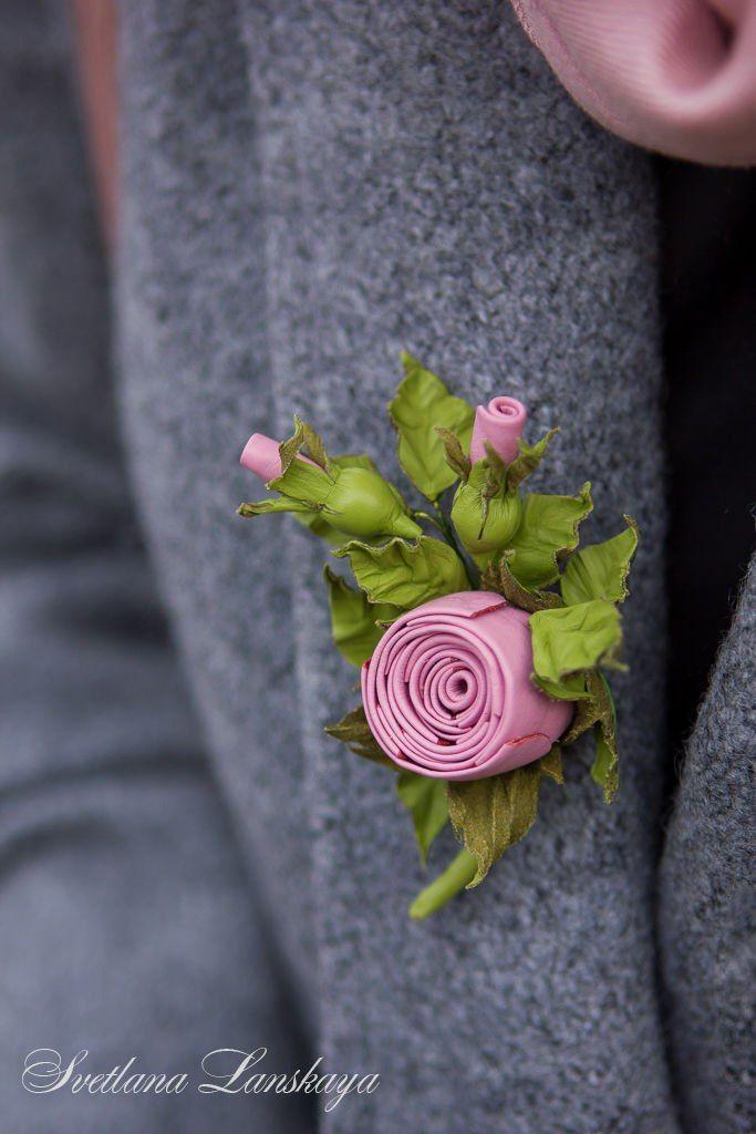 "Leather Brooch | Мини-брошь из кожи ""Розочка"""