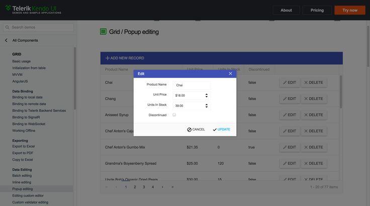 Kendo Grid popup Editor