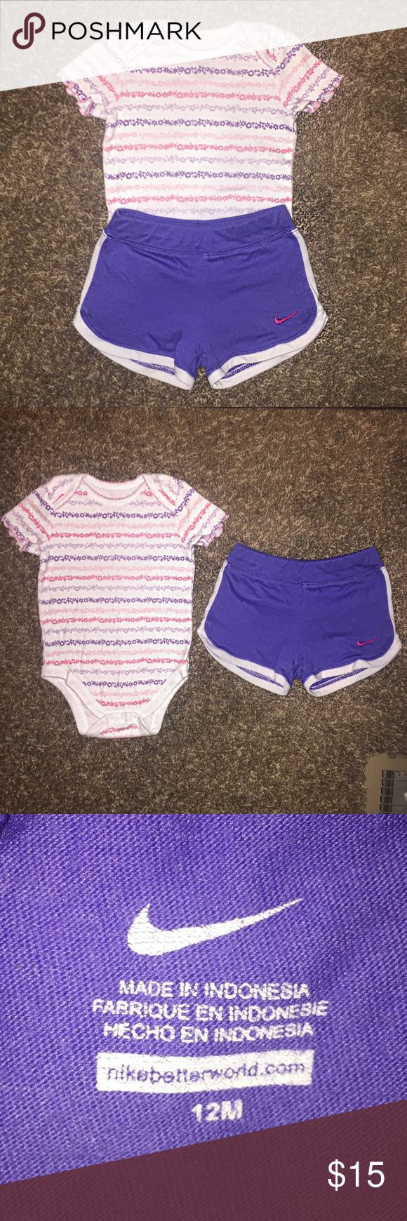 12 month baby girl outfit Like new!  Shorts are Nike and onesie is Faded Glory.  So adorable!  No rips or stains.  Pet and smoke free home.  ( ) Nike Bottoms Shorts