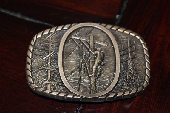 Solid Brass Power Lineman Belt Buckle on Etsy, $55.00