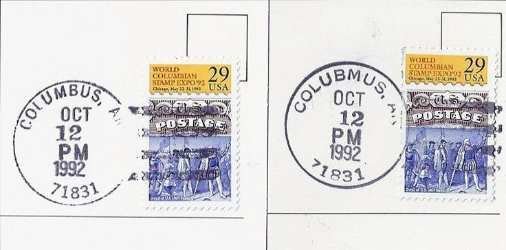 """Two Columbus Day cancellations (12 Oct 1992) from Columbus, Arkansas. The one with COLUBMUS (misspelled) is more common than the one with COLUMBUS correctly spelled. The P.O. mistakenly used the misspelled device for most of the Columbus day cancellations. Because October 12 fell on the Federal Holiday with Post Offices closed, the U.S. Postal Service authorized 12 Oct 1992 postmarks at 19 post offices in 17 states, all of which have """"Columbus"""" as their name or within their name."""