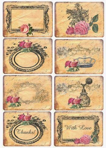 Etiquetas Retro con Rosas para Imprimir Gratis.
