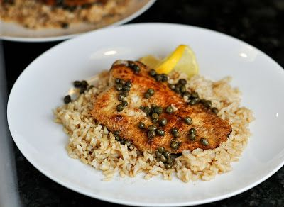 This was a really delicious, super quick and easy meal. It is slightly adapted from Cooking Light (basically I used capers in place of pepp...