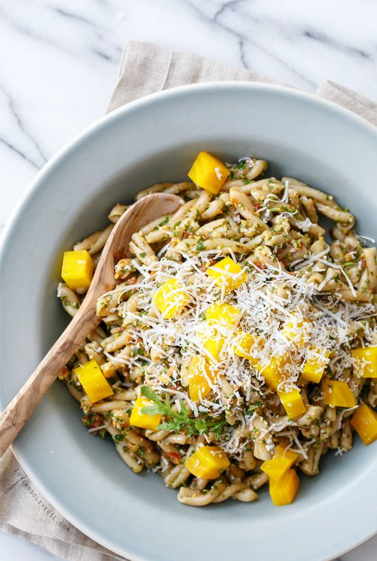 Arugula Pesto Pasta with Roasted Golden Beets, made with whole wheat pasta so it's both healthy AND delicious!