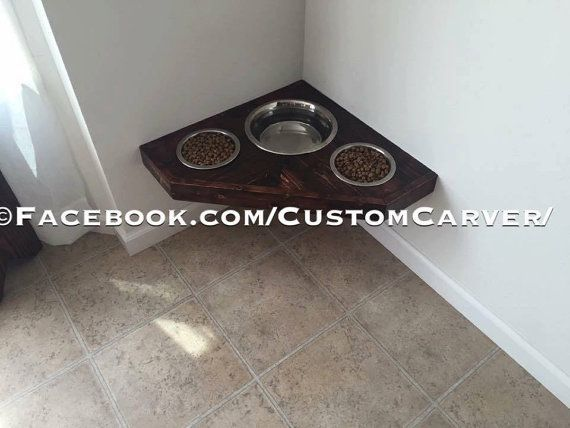 Floating Dog Bowls. Raised Dog Bowls. Wall by CustomCarverWoodWork
