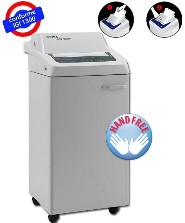 DK260TSAFHS5 et DK260TSAFHS6 Destructeur de papier dernière génération équipé d'un chargeur spécial breveté de 170 feuilles A4 (capacité approximative en fonction de la nature des documents), il suffit d'insérer le papier dans le bac, la machine le détruit automatiquement et s'arrête une fois le travail terminé.