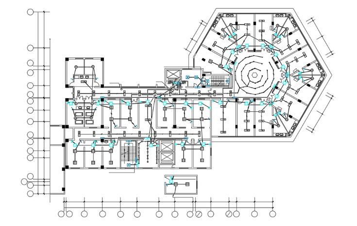 Download The Commercial Building Plan Electric Layout DWG