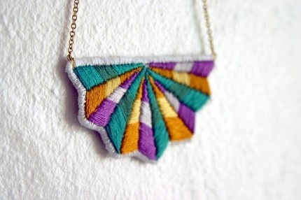 embroidered necklace.