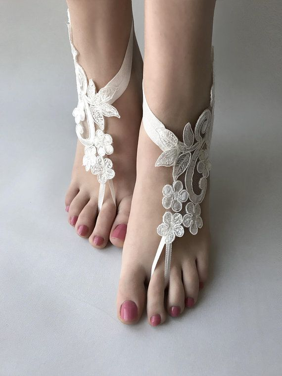 3ffaaa1604d ivory or white lace barefoot sandals Beach wedding barefoot sandals ...