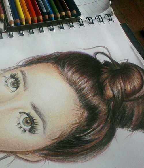 The HAIR on this colored pencil drawing... Yeeesh! Gorgeous.
