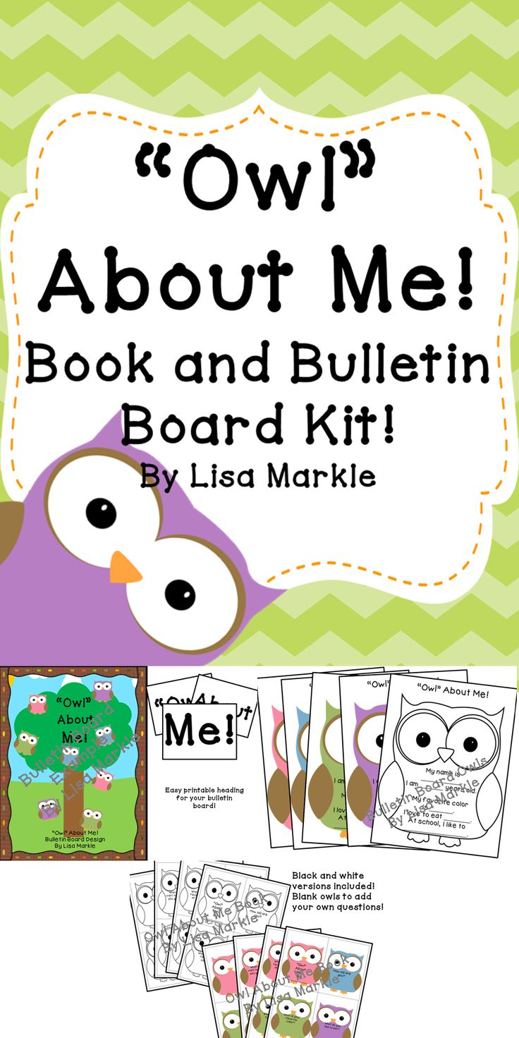 "Find out ""whoooo's"" in your class with this adorable ""Owl About Me!"" bulletin board kit and book! This is perfect to get to know your new students and welcome them with a bright and cheerful bulletin board dedicated to them!"