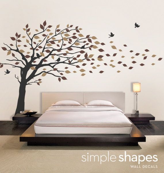 Vinyl Wall Art Decal Sticker - Blowing Leaves Tree - LARGE