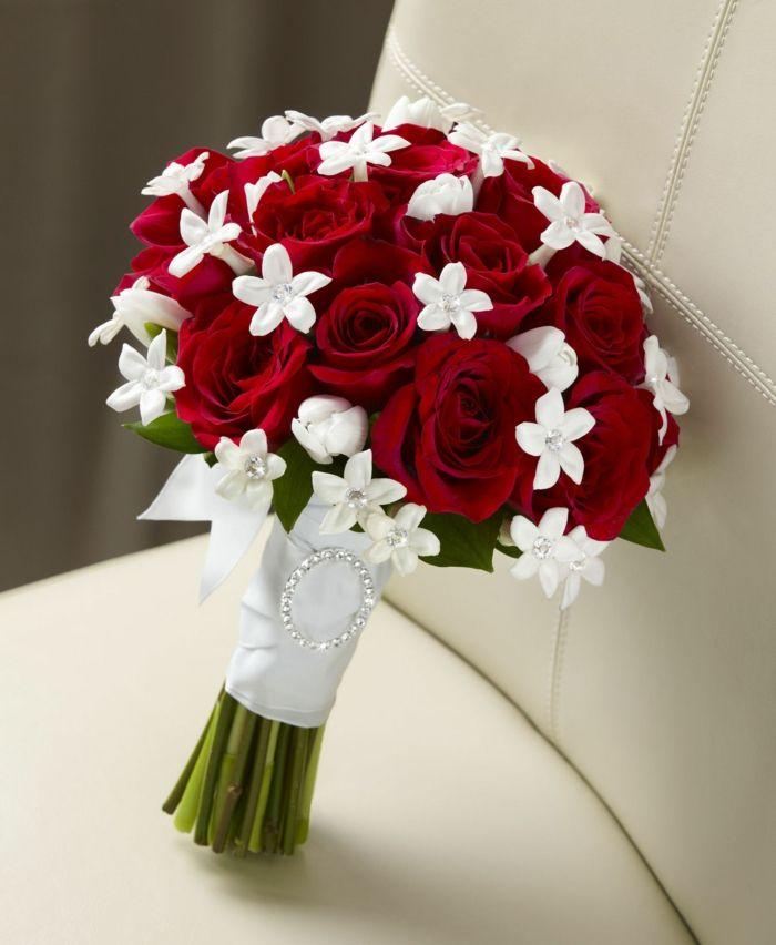 hochzeit rote rosen strasssteine braut