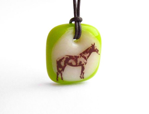 Thoroughbred Horse Necklace - handmade in glass by  l e i l a c o o l s