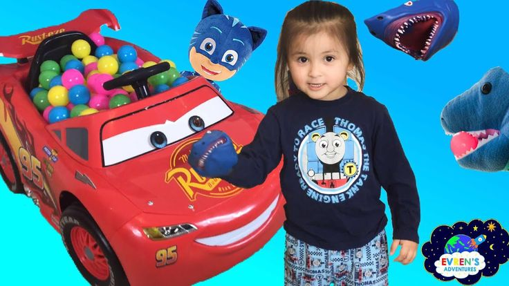 Pet Shark Pretend Playing Chase  Family Fun Activities for Kids with Evren Adventures ToysReview. Thanks for joining Evren and Evren' mummy playing hide and seek games with pet shark,the dinosaur puppet pet, Pj masks cat boy, giant Thomas the tank engine inflatable, Disney Mickey Mouse clubhouse and much more. All are trapped inside the Disney Cars power ride on car for kid with lots of color balls. Evren had lots of fun pretending playtime playing chasing games around the park with Disney…