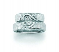 Silver Wedding Rings, brilliant 0,025ct W/Si