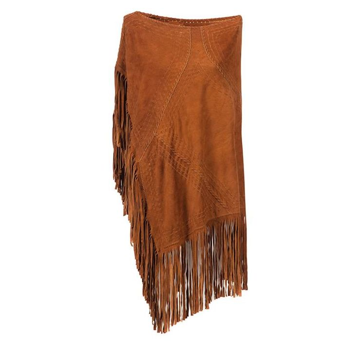 Suede NAVAJO Poncho  color chestnut #amormondial #fringes #poncho #bohemian #bohostyle