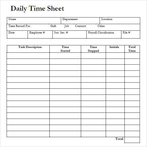 Timesheet Template Free Printable Elegant 10 Daily Timesheet Templates Free Sample Exa Templates Printable Free Timesheet Template Free Business Card Templates