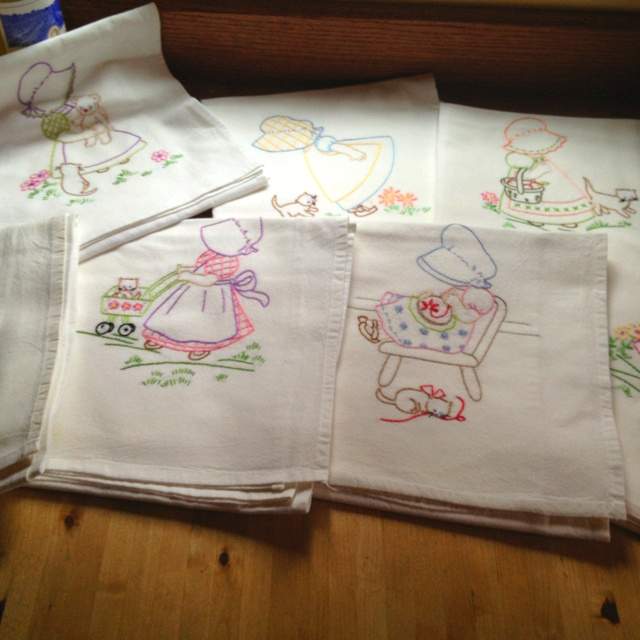Hand embroidered flour sacks as dish towels!