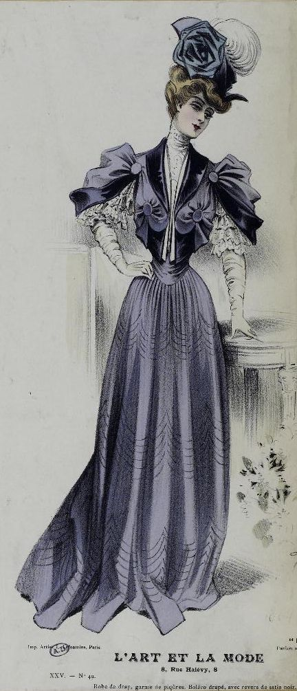 L'art et la Mode- Edwardian Fashion plate, 1904. Beautiful and interesting draping on the bodice of this dress.