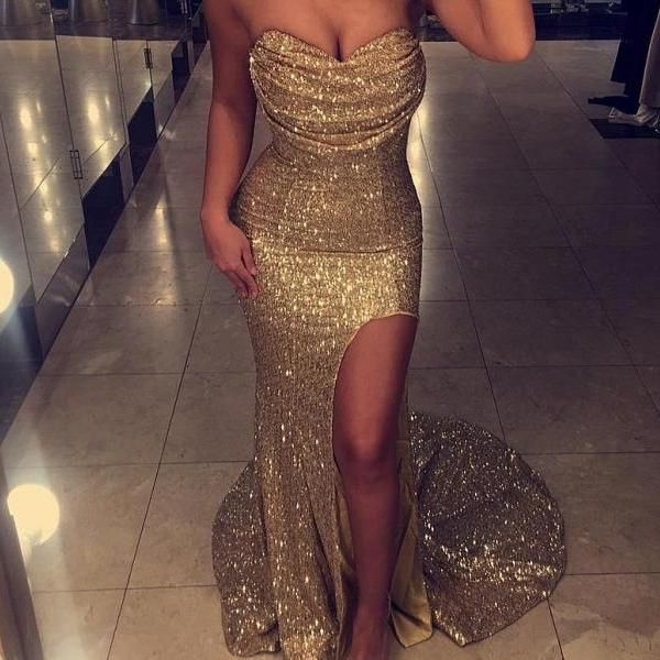 169 USD.Gold Sequin Prom Dresses,Long Prom Dresses Mermaid,Strapless Prom Dresses,Long Gold Formal Gowns,Evening Dresses for Women