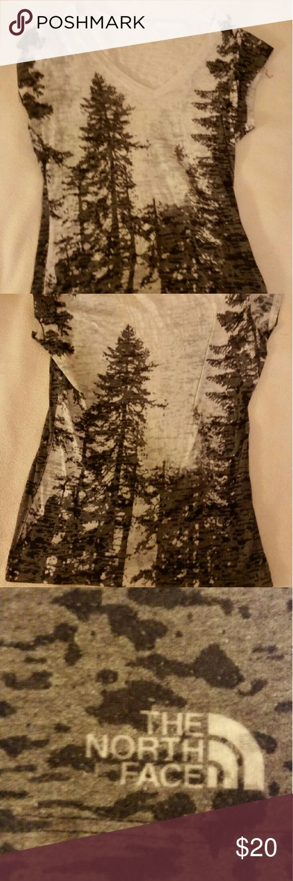 Tree burnout tee Beautiful North Face tree pattern burnout tee. Lightweight, great for layering. Excellent used condition. North Face Tops Tees - Short Sleeve