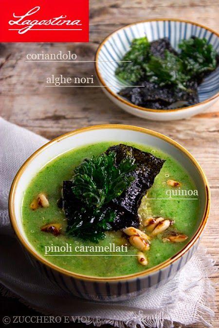 Zuppa di bok choy con alghe nori e pinoli caramellati