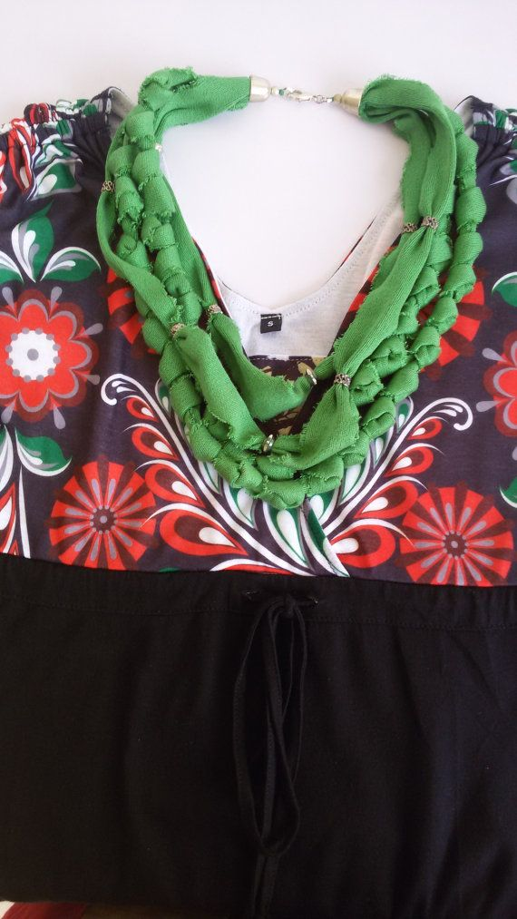 Collana di stoffa fettuccia cotone VERDE MELA di MediterraneanArt