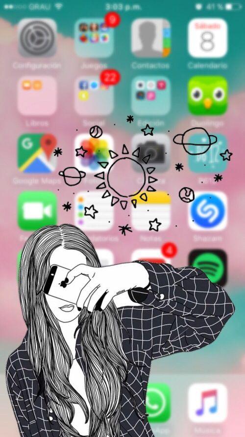 Fundo de página inicial do iphone com rapariga a tirar foto