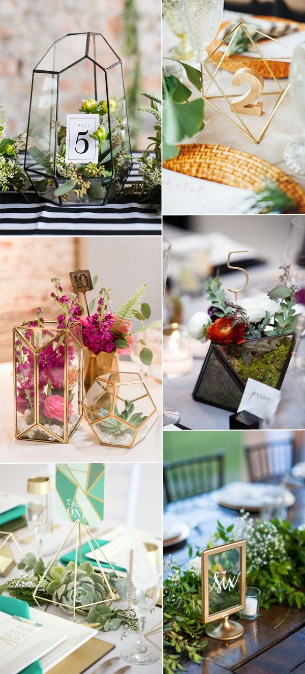 2017 wedding trends geometric terrarium wedding table number holderswedding