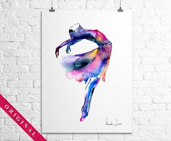 Ballerina original watercolor painting by for Helen chamberlain tattoo