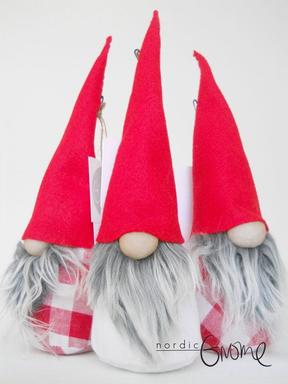 Small Scandinavian Gnome Trio,Red color group, Christmas Tomten, Nisse, Tonttu, White Santa, Handmade by Nordic Gnome