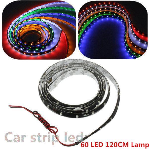 [US$3.99] 120cm 60 LED Flexible Neon Strip Light Car Van 12V New  #120cm #flexible #light #neon #strip