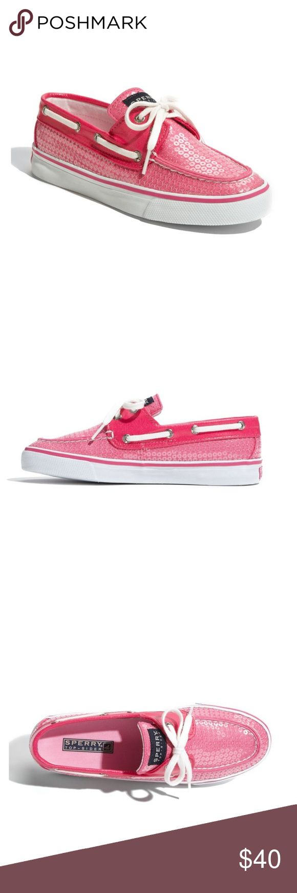 Sperry Top-Sider Pink Sequins Bahama Boat Shoe Used - In good condition  Who says casual has to be ordinary? Add a touch of glam to a laid back look with flirty patterns, prints and colors that keep you looking fresh for any occasion. Dress up your daily style with our wide selection of trendy casuals. Sperry Top-Sider Shoes