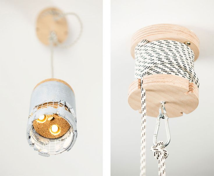 Designed for Romanian furniture brand UBIKUBI, the Slash Lamp comes in a cardboard poster tube with a cork cap that uncovers a small rock when removed.   Unpacking further reveals the lamp itself, which Dragos Motica made from birch plywood, an LED bulb and a reinforced concrete shade encased in c
