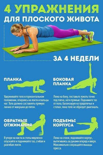 4 упражнения для плоского живота. / Слабый пол!