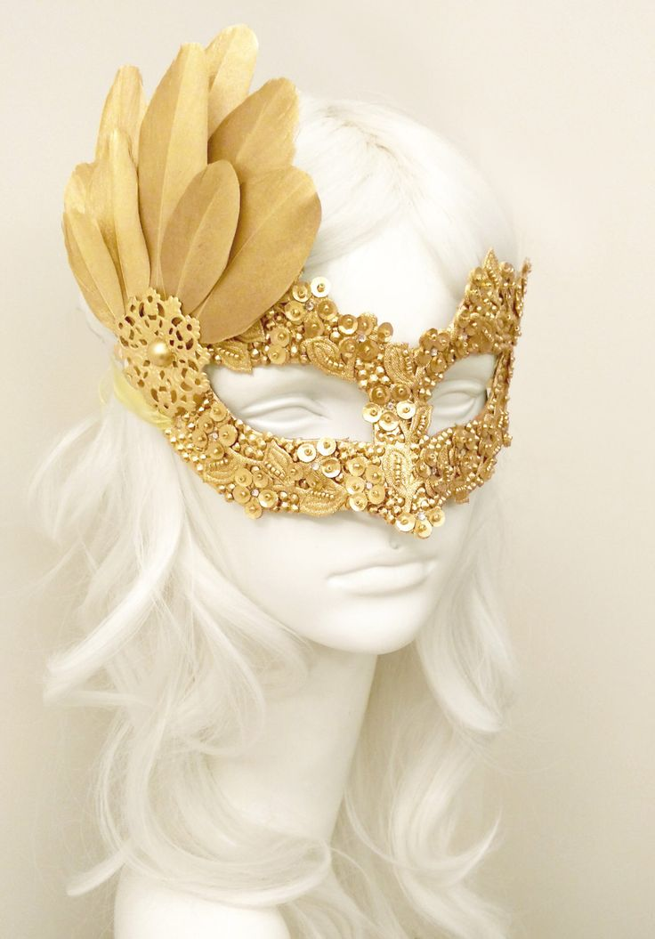 Sequined Gold Masquerade Mask With Rhinestones And Feathers - Venetian Style Gold Masquerade Ball Mask For Prom, Costume Party, Wedding by SOFFITTA on Etsy https://www.etsy.com/listing/482144038/sequined-gold-masquerade-mask-with
