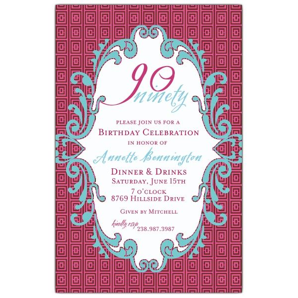The 7 best 90th invites images on pinterest invitation wording design custom birthday party invitations today at paper style stopboris Images